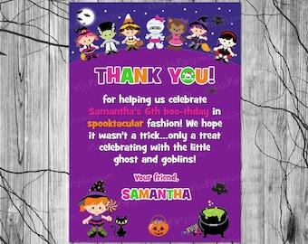 HALLOWEEN Birthday Thank You Card PRINTABLE, Halloween Thank You Card Note, Kids Halloween Thank You Card, Halloween Party Printables Tags