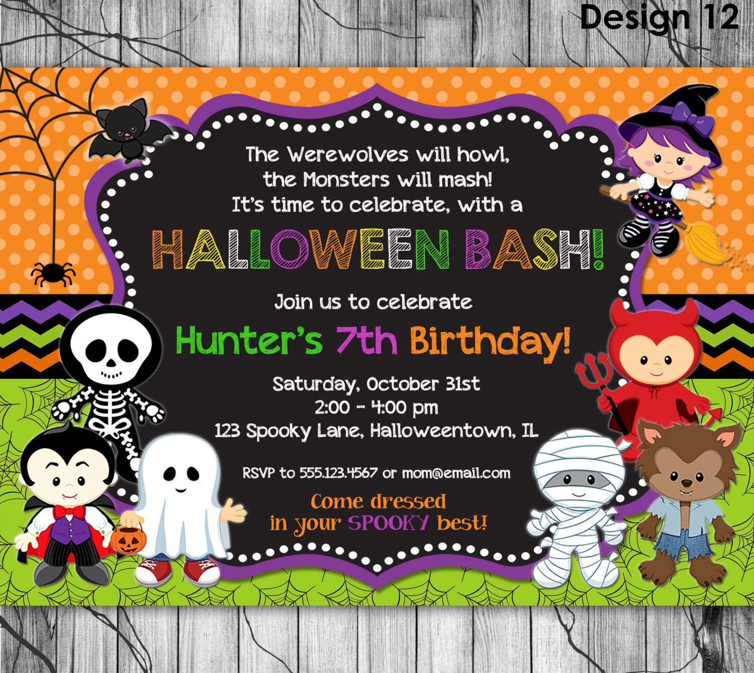 halloween birthday invitation printable kids halloween party 128270zoom