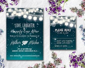 Digital - Printable Files - Winter Snow & Lights Wedding Invitation and Reply Card Set - Wedding Stationery - ID606