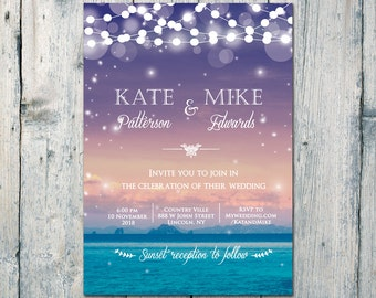 Digital - Printable Files - Seascape and Sunset Wedding Invitation and Reply Card Set - Wedding Stationery - ID544