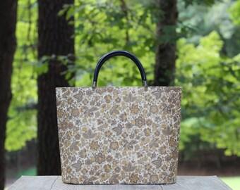 Vintage Gold Floral Sewing Tote / Gold Floral Sewing Bag / Gold Floral Tote / Retro Tote Bag / Sewing Bag / Craft Bag / Floral Laptop Bag