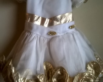 Vintage girl gold rose party/pageant dress