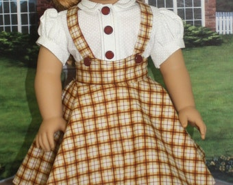 American Girl Style 1950s Jumper in Golden Brown Plaid