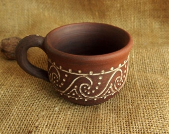 Handmade TEA CUP Unglazed Ceramic MUG Ornamented tea cup Organic traditional slavic pottery Terracotta red clay Handmade ceramics