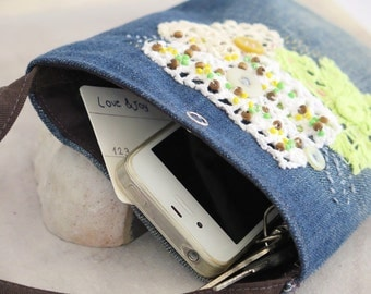 Rustic embroidered jeans phone pouch, Hand sewn denim phone purse, Crossbody repurposed jeans bag, Upcycled jeans hip pouch