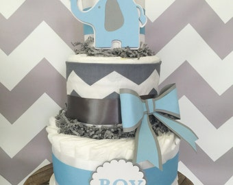 Baby Elephant Diaper Cake for Boys, Chevron Baby Shower Centerpiece in Blue and Gray