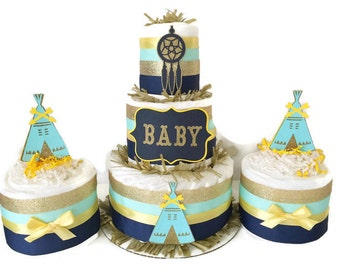 Tribal Baby Shower Diaper Cakes, Set of 3 Baby Shower Centerpieces in Navy Blue, Gold and Mint, Teepee Baby Shower Decorations