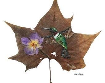 Print Hummingbird painted on real mapke leaf with real orchid, hummingbird painting, bird painting, hummingbird with flower, hummingbird, le