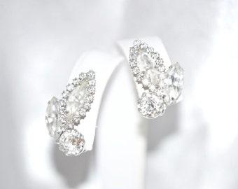 Vintage Juliana DeLizza Elster Earrings Clear Rhinestone Halo