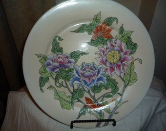 Chinese Flower Lotus and Bird Porcelain Plate