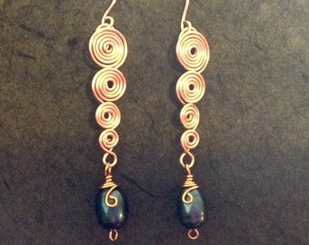 Copper and pearl wirework earrings