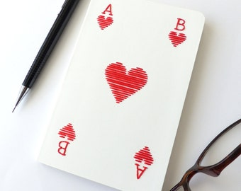 Hand embroidered notebook initials customizable Ace of hearts-writing-personalized gift-graphic design-typography-man woman and teen gift
