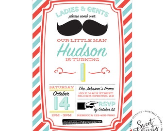 Retro Barbershop Mustache Little Man Birthday Party Printable Invitation