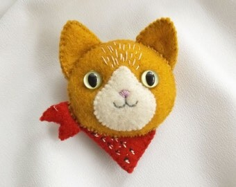 Ginger Tabby Cat Brooch with Red Bandana Scarf, Handmade Felt Jewelry, Cat Lover Gift, Hand Sewn Kitty Cat Pin for Pet Lovers
