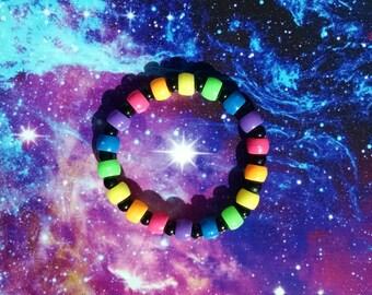 Neon Rainbow with Black Glass Beads Stretch Kandy Bracelet