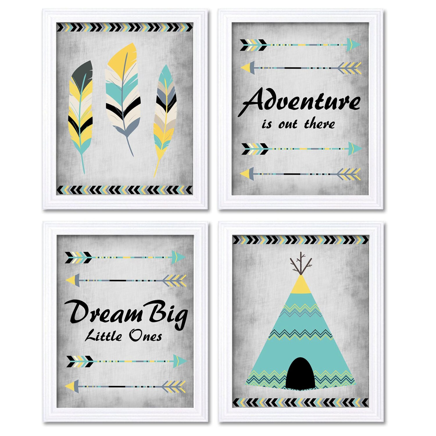 Tribal Nursery Art Yellow Turquoise Grey Print Set of 4 Wall Decor Adventure is Out There Dream Big