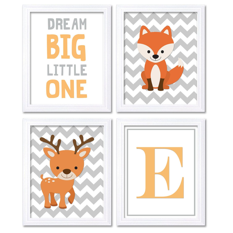 Orange Grey Deer Fox Nursery Art Set of 4 Prints Woodland Dream Big Little One Letter Monogram Child