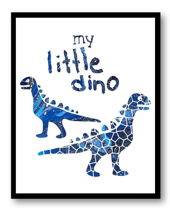 Dinosaur Nursery Art My Little Dino Print Watercolor Painting Baby Art Navy Blue Boy Decor Child Kid