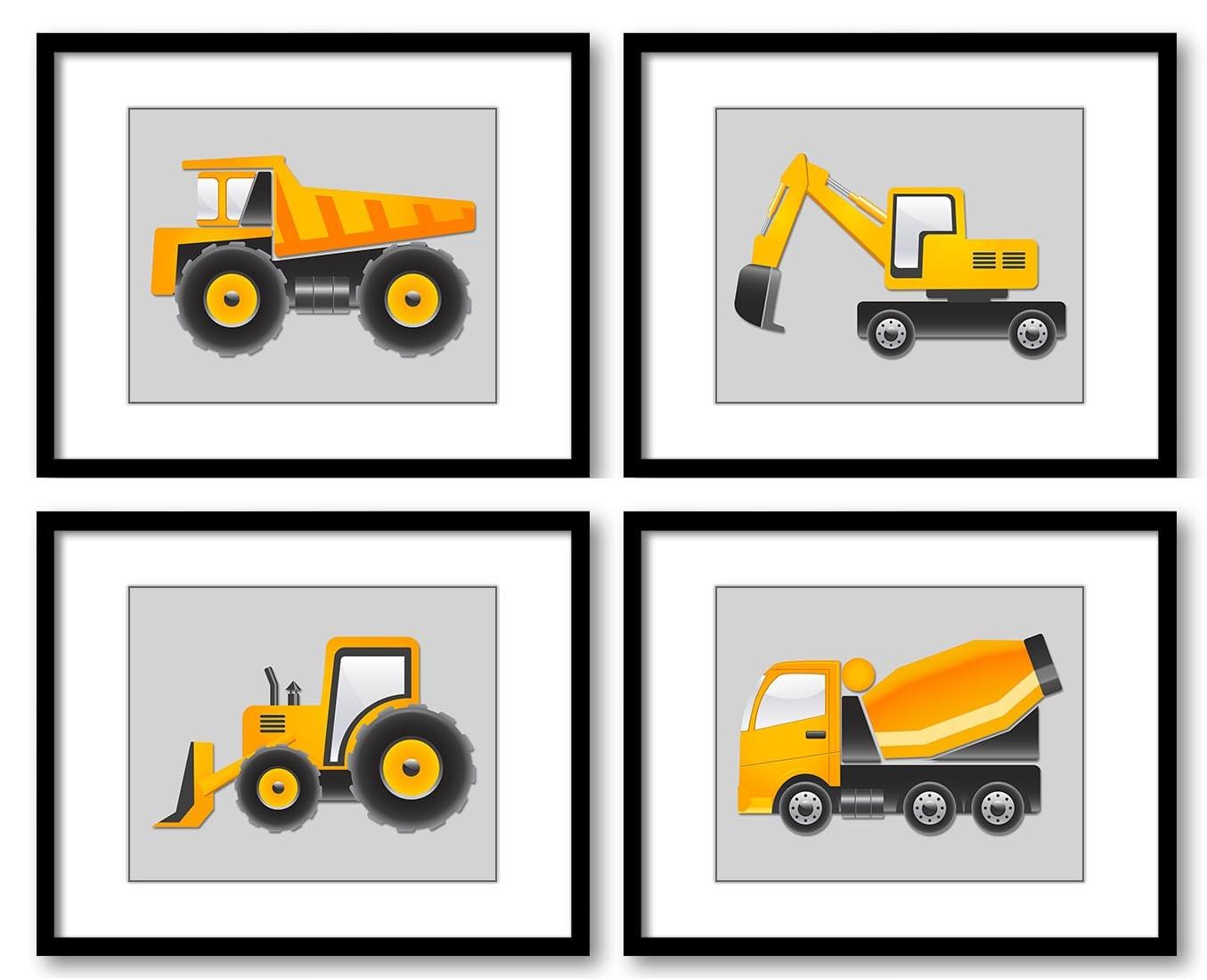 Light Grey Yellow Transportation Construction Vehicles Heavy Machinery Child Set of 4 Prints Boy Nur