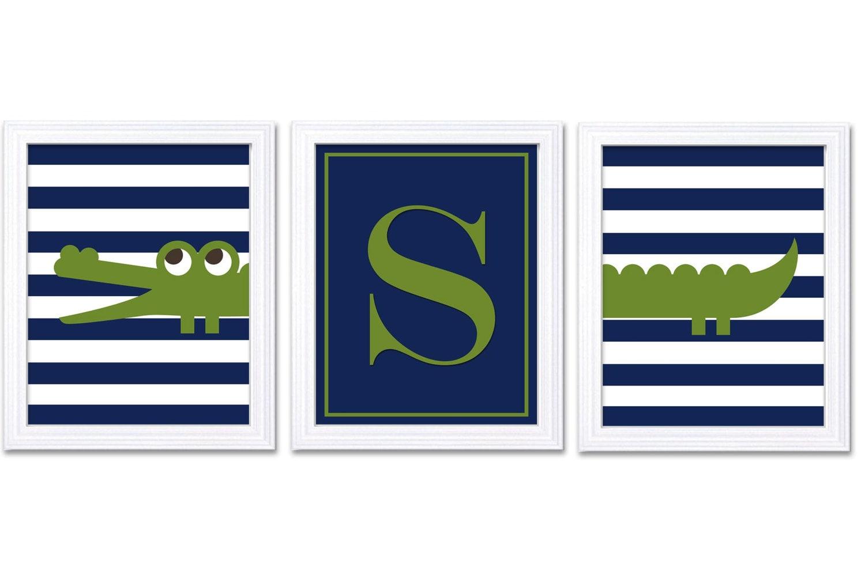 Crocodile Nursery Art Prints Set of 3 Letter Monograhm Navy Blue Green Child Kids Boy Room Wall Deco