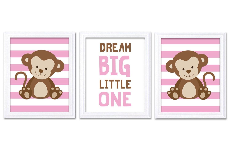 Monkey Nursery Art Set of 3 Prints Pink Brown Dream Big Little One Child Kid Girl Room Wall Decor Ju