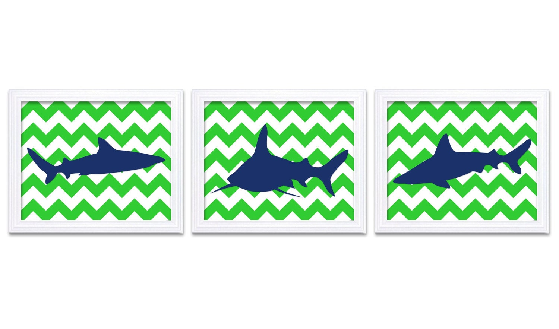 Navy Blue Lime Green Shark Animal Art Prints Stripes Set of 3 Chevron Sharks Boys Art Nursery Art Pr