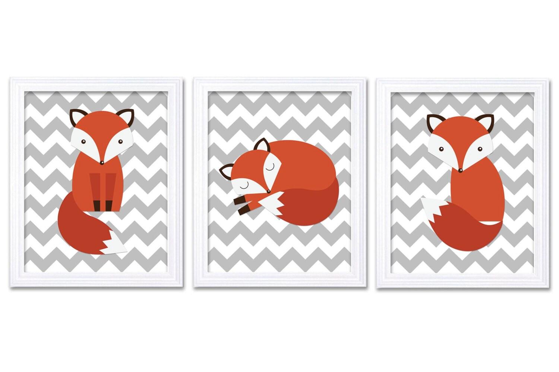 Fox Nursery Art Animal Print Set of 3 Gray Grey Chevron Woodland Forest Animals Wall Decor Children