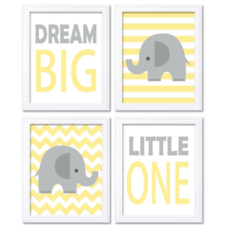 Yellow Gray Grey Elephant Nursery Art Dream Big Little One Set of 4 Prints Stripes Chevron Child Kid