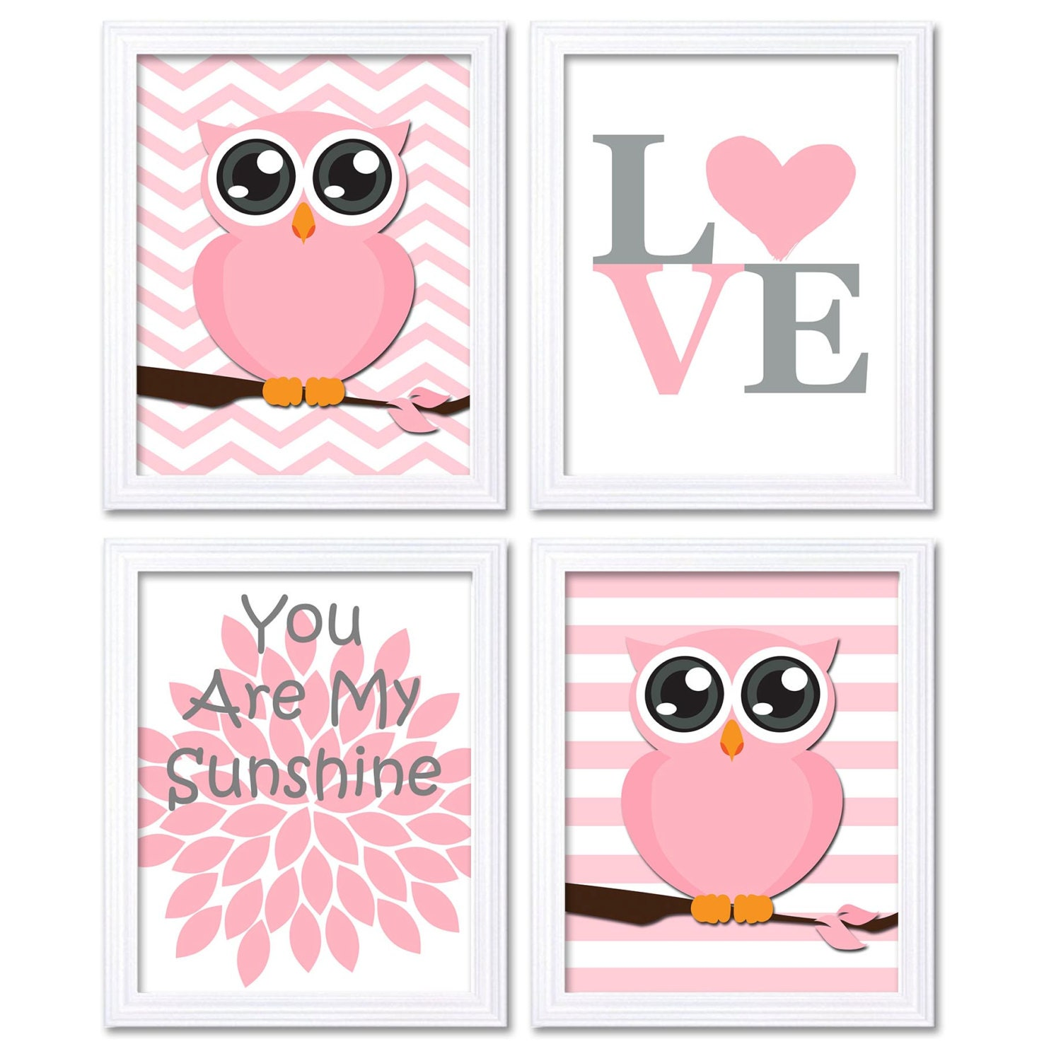 Baby Gray Grey Brown Pink Owl Nursery Art Set of 4 Prints LOVE You Are My Sunshine Stripes Chevron C