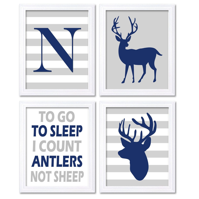 Navy Blue Gray Grey Deer Nursery Art Set of 4 Prints Woodland To Go To Sleep Letter Monogram Child K