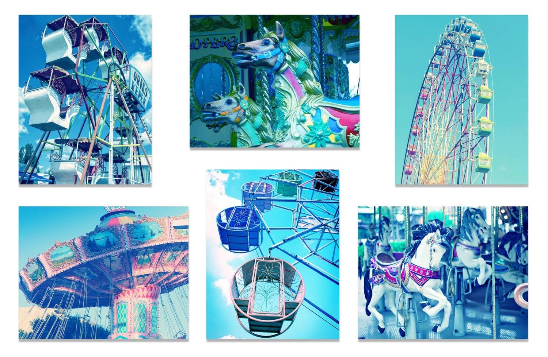 Old Carnival Nursery Print Child Blue Baby Boy Art Prints Set of 6 Vintage Fair Circus Ferris Wheel