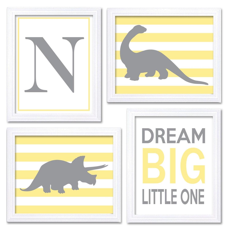 Dinosaur Nursery Art Set of 4 Prints Grey Yellow Stripes Tyrannosaurus Rex Brachiosaurus Dream Big L
