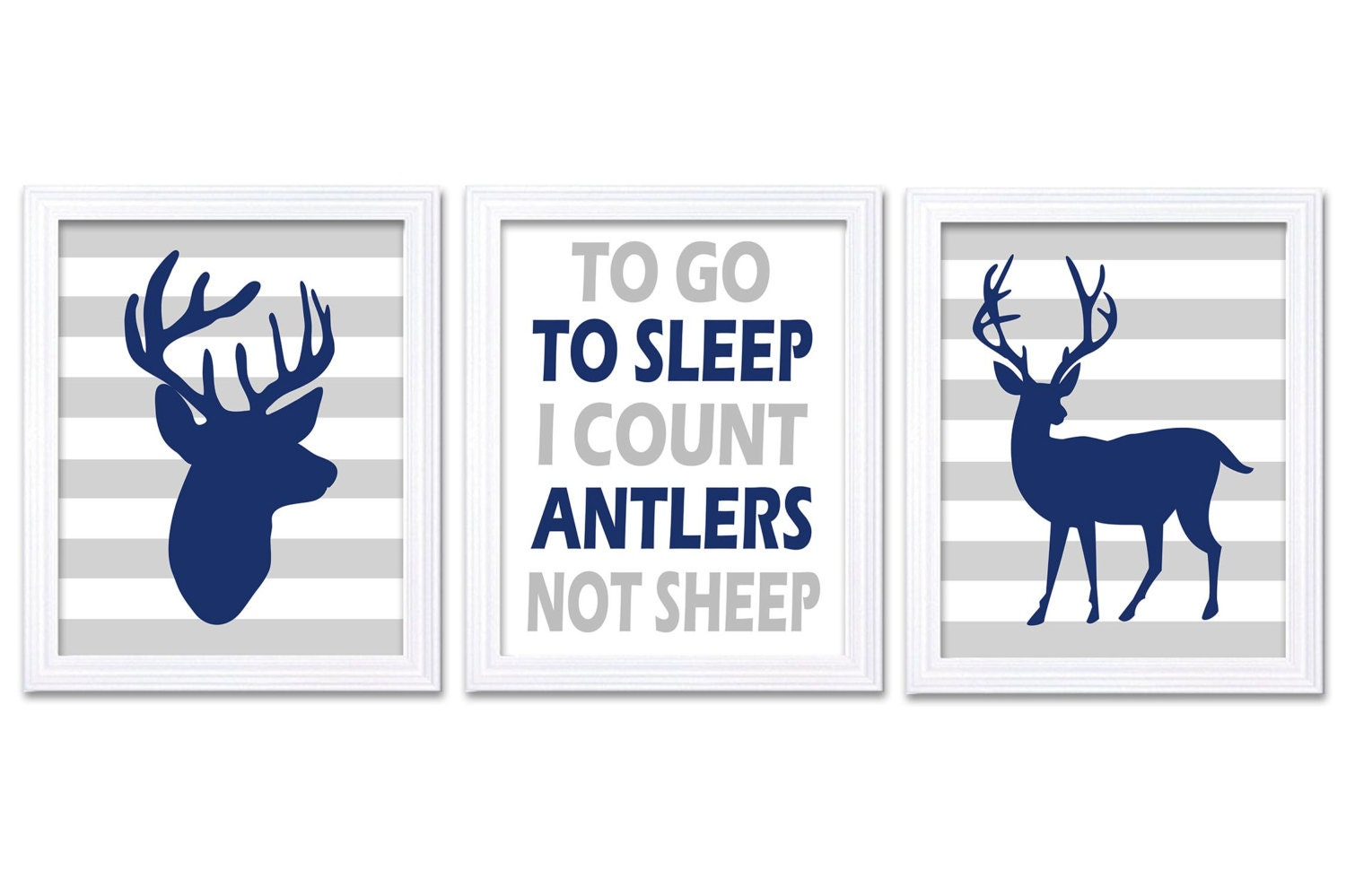 Deer Nursery Art Deer Head Prints Set of 3 To Go To Sleep Count Antlers Navy Blue Grey Stripes Baby