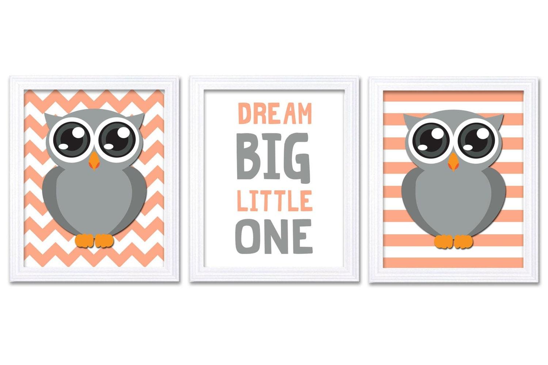 Owl Nursery Art Set of 3 Prints Grey Coral Dream Big Little One Owl Nursery Decor Baby Girl Wall Dec