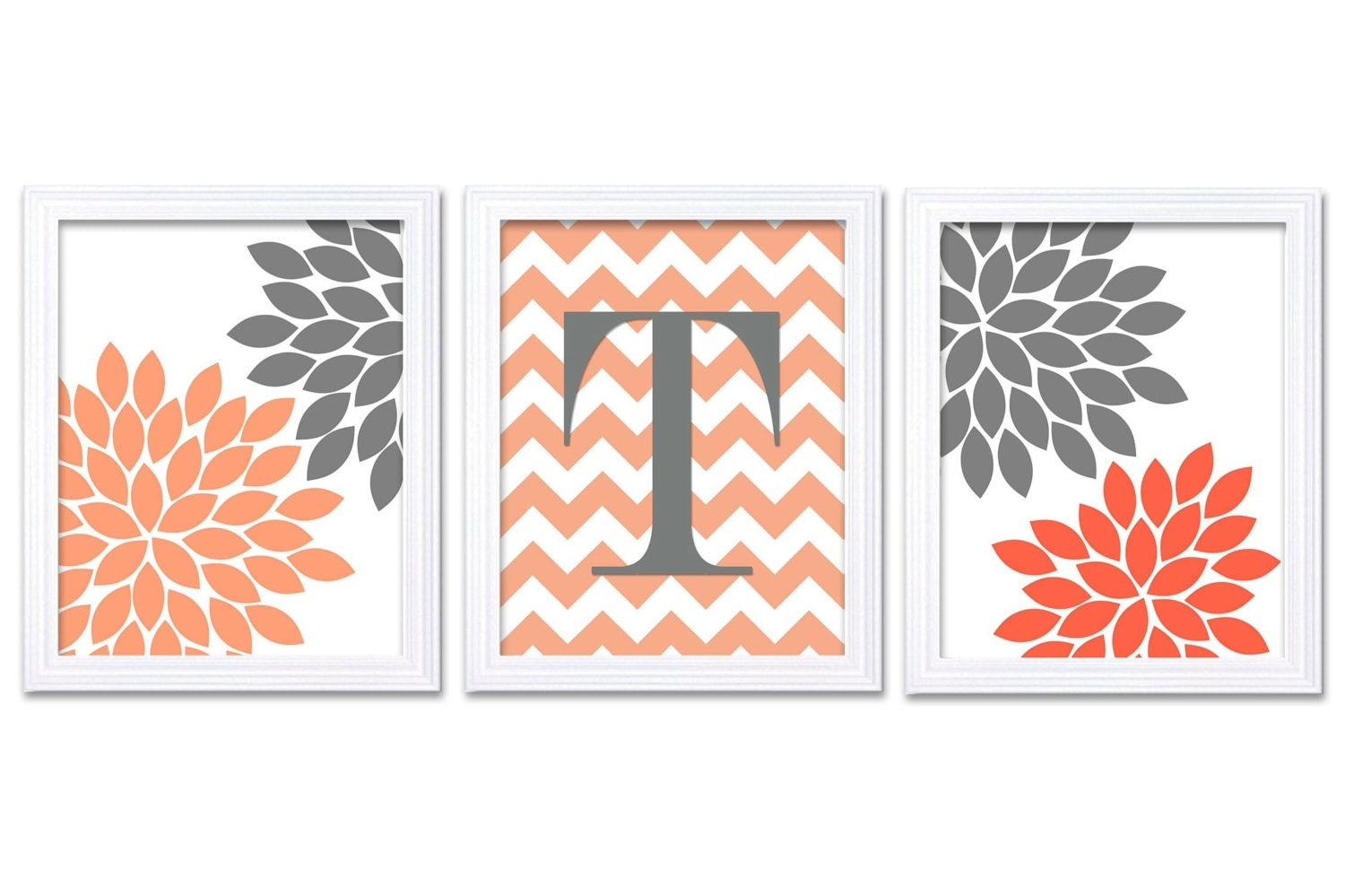 Grey Coral Nursery Art Set of 3 Prints Custom Letter Monogrham Chrysanthemum Flowers Baby Girl Wall