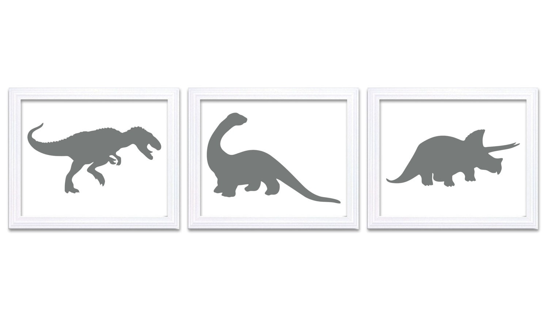 Grey White Dinosaur Nursery Art Dinosaurs Set of 3 Prints Tyrannosaurus Rex Triceratops Brachiosauru