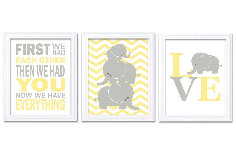 Elephant Nursery Wall Decor LOVE Set of 3 Prints Yellow Grey Nursery Art Chevron First We Had Each O