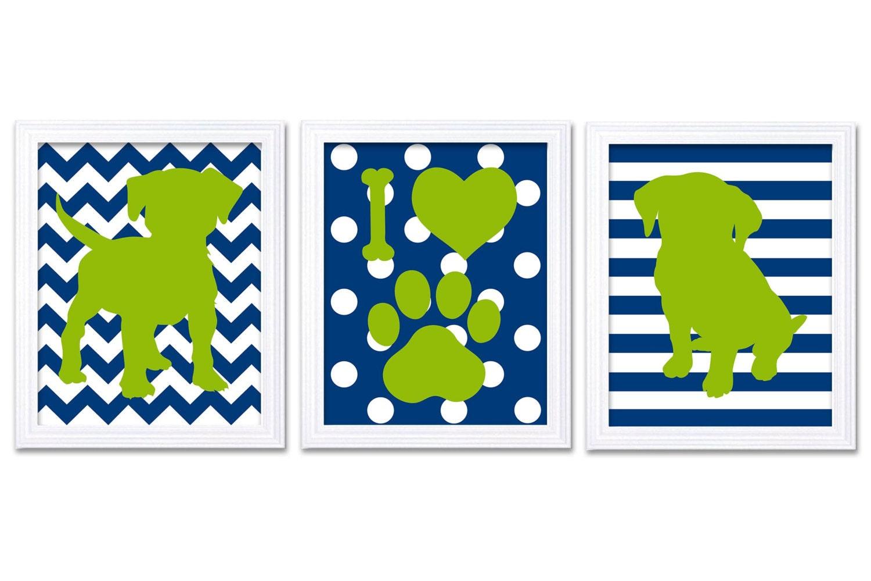 Navy Blue Lime Green Puppy Dog Nursery Art Puppy Prints Set of 3 Prints Stripes Polka Dots Chevron B