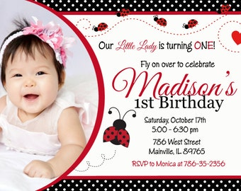 Ladybug Birthday Party Invitation, Any Age