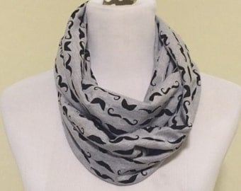 Gray mustaches scarf- now available in regular and infinity!