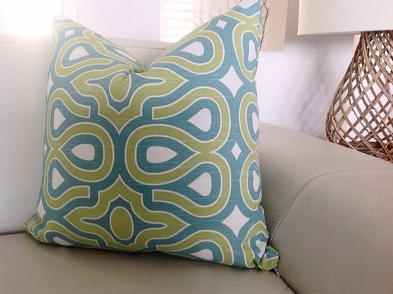 Modern Retro Pillows : Modern Retro Pillows Green Cushions Green and Blue Pillows