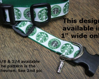 Starbucks Coffee Inspired Adjustable Dog or Cat collar with a coffee cup charm AT LAST smaller sizes LEASHES available