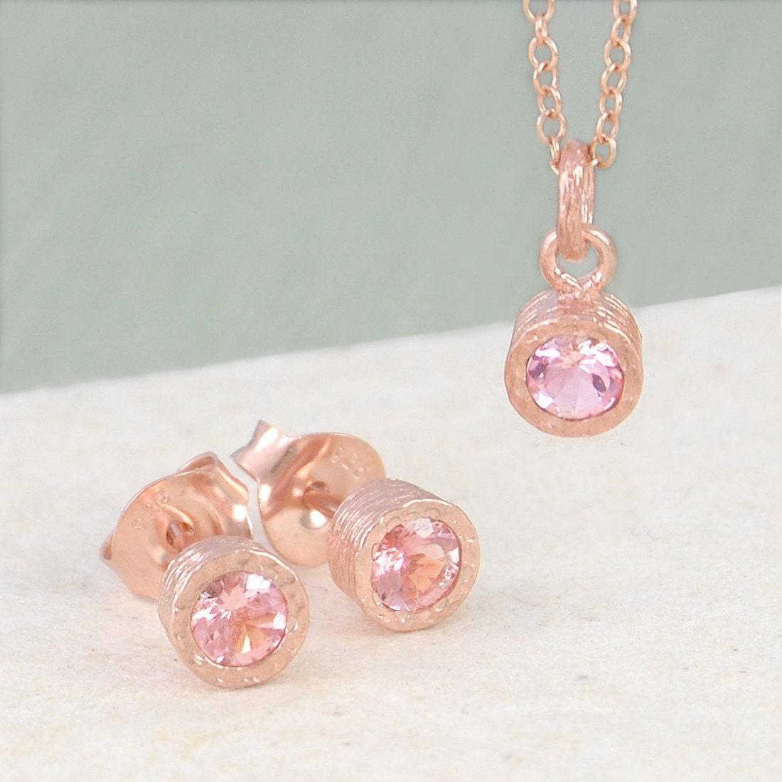 pink tourmaline jewelry set tourmaline pendant rose gold. Black Bedroom Furniture Sets. Home Design Ideas