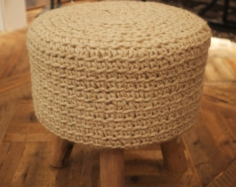 100% Natural Wool Top Footstool