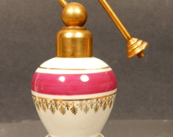 Perfume Bottle Limoges France Porcelain Spray Atomizer No Pump Gold Trim Vtg