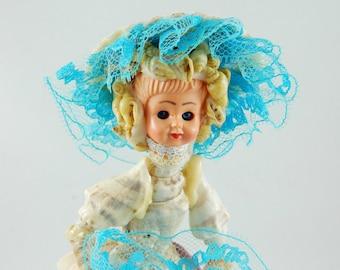 Vintage Figurine Lady made of Real Sea Shells Doll Head Folk Art Hand Made