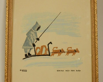 Inuit Silkscreen Eskimo With Dog Sled by Mika Gold Colour Wood Frame Vtg