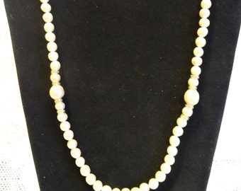 "Vintage Faux Pearl Rhinestone Strand Necklace 32.5"" Opera Length Gold Tone"