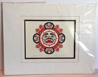 Vintage First Nations Print Brotherhood Carl Stronquist Pencil Signed 11x14
