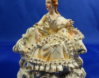 Vintage Victorian Lady on Chair Very Detailed Porcelain White Gold Trim Japan